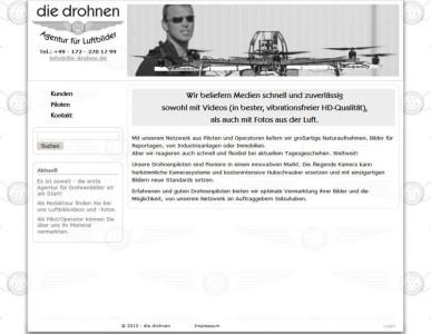 Seite und Logo für die neue Luftbild-Agentur